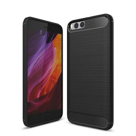 Xiaomi Mi 6 TPU Case Carbon Fiber Optik Brushed Schutz Hülle Schwarz