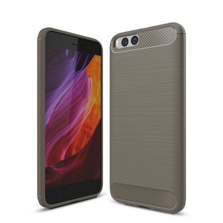 Xiaomi Mi 6 TPU Case Carbon Fiber Optik Brushed Schutz Hülle Grau