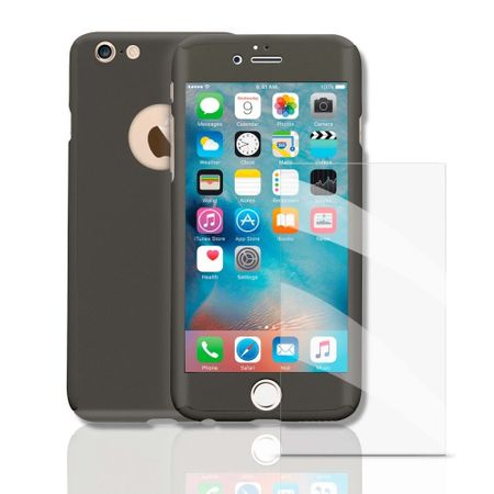 Apple iPhone 5 / 5s Handy-Hülle Schutz-Case Full-Cover Panzer Schutz Glas Grau
