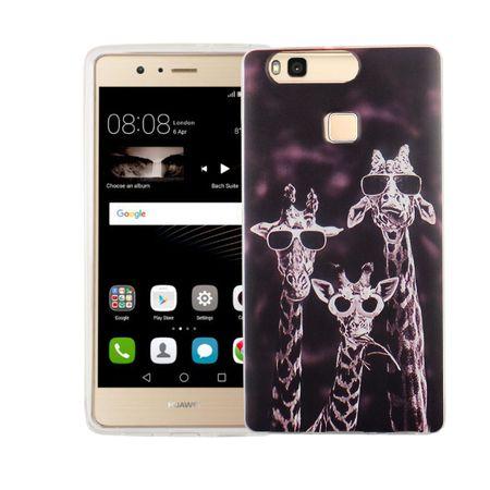 Handy Hülle für Huawei P9 Cover Case Schutz Tasche Motiv Slim Silikon TPU 3 Giraffen