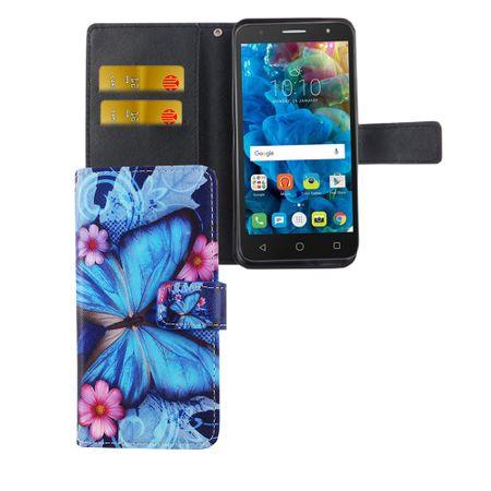 """Handyhülle Tasche für Handy Alcatel Pop 4 5.0"""" Blauer Schmetterling"""