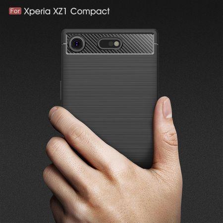 Sony Xperia XZ1 Compact TPU Case Carbon Fiber Optik Brushed Schutz Hülle Blau – Bild 6