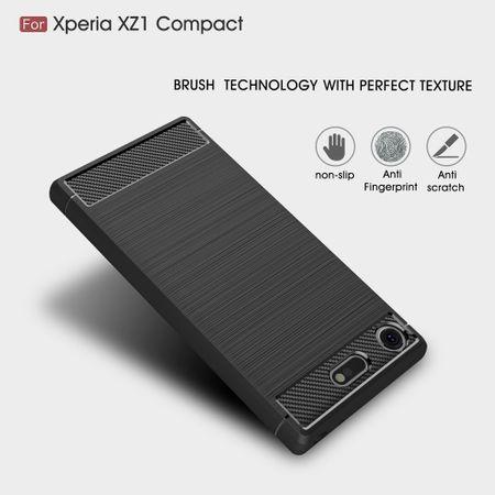 Sony Xperia XZ1 Compact TPU Case Carbon Fiber Optik Brushed Schutz Hülle Schwarz – Bild 5