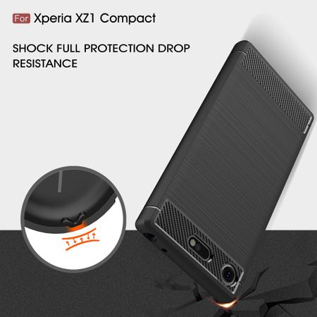Sony Xperia XZ1 Compact TPU Case Carbon Fiber Optik Brushed Schutz Hülle Schwarz – Bild 8