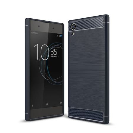Sony Xperia XA1 Plus TPU Case Carbon Fiber Optik Brushed Schutz Hülle Blau