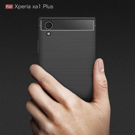Sony Xperia XA1 Plus TPU Case Carbon Fiber Optik Brushed Schutz Hülle Blau – Bild 6