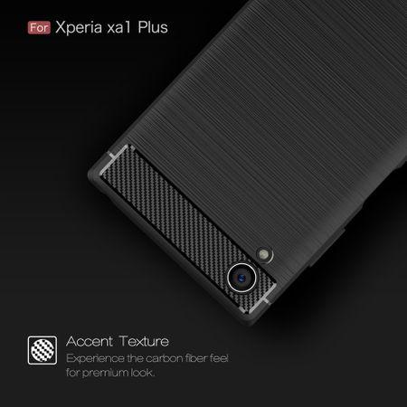 Sony Xperia XA1 Plus TPU Case Carbon Fiber Optik Brushed Schutz Hülle Schwarz – Bild 7