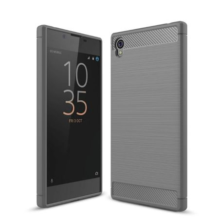 Sony Xperia L1 TPU Case Carbon Fiber Optik Brushed Schutz Hülle Grau