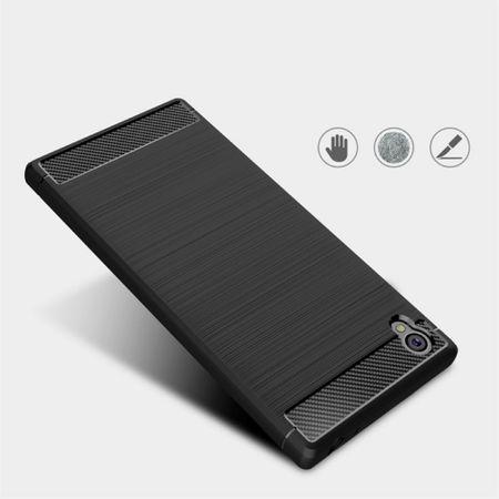 Sony Xperia L1 TPU Case Carbon Fiber Optik Brushed Schutz Hülle Grau – Bild 3