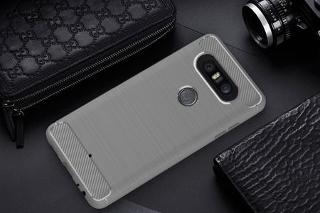 LG Q8 TPU Case Carbon Fiber Optik Brushed Schutz Hülle Grau – Bild 2
