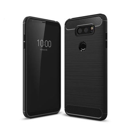 LG Q8 TPU Case Carbon Fiber Optik Brushed Schutz Hülle Schwarz – Bild 1