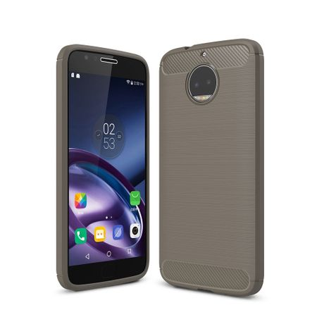 Motorola Moto G5S Plus TPU Case Carbon Fiber Optik Brushed Schutz Hülle Grau