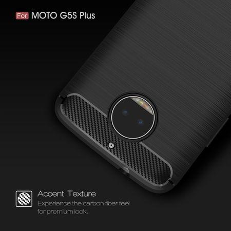 Motorola Moto G5S Plus TPU Case Carbon Fiber Optik Brushed Schutz Hülle Schwarz – Bild 3