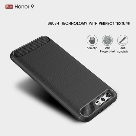 Huawei Honor 9 TPU Case Carbon Fiber Optik Brushed Schutz Hülle Grau – Bild 4