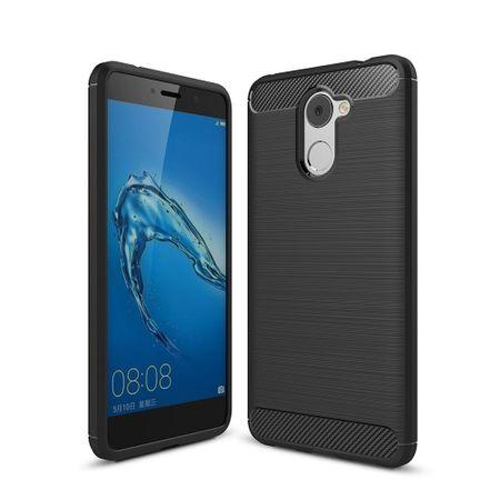 Huawei Y7 Prime TPU Case Carbon Fiber Optik Brushed Schutz Hülle Schwarz – Bild 4
