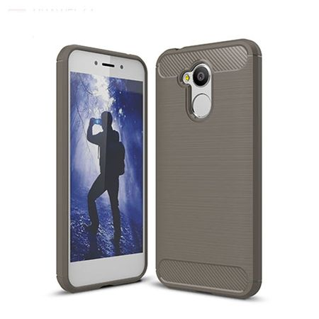 Huawei Honor 6A Pro TPU Case Carbon Fiber Optik Brushed Schutz Hülle Grau