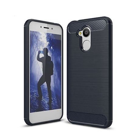 Huawei Honor 6A Pro TPU Case Carbon Fiber Optik Brushed Schutz Hülle Blau