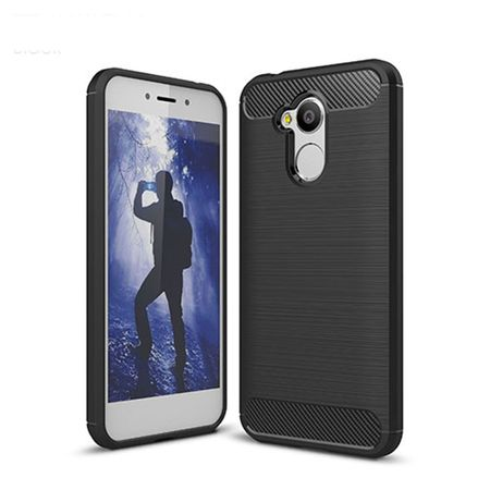 Huawei Honor 6A Pro TPU Case Carbon Fiber Optik Brushed Schutz Hülle Schwarz