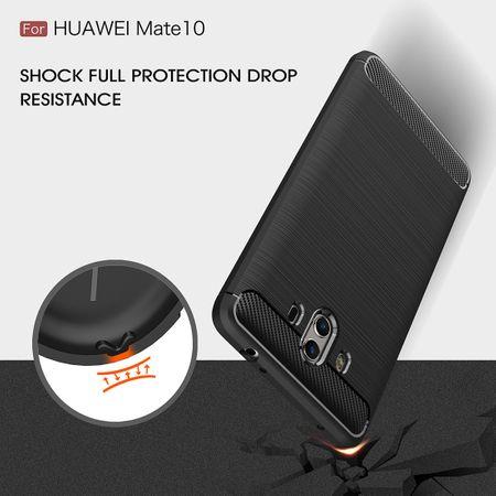 Huawei Mate 10 TPU Case Carbon Fiber Optik Brushed Schutz Hülle Schwarz – Bild 9