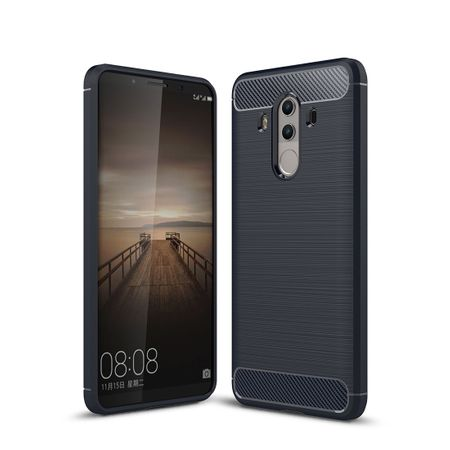 Huawei Mate 10 Pro TPU Case Carbon Fiber Optik Brushed Schutz Hülle Blau