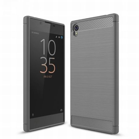 Sony Xperia Z6 TPU Case Carbon Fiber Optik Brushed Schutz Hülle Grau