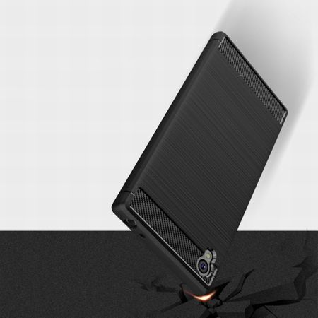 Sony Xperia Z6 TPU Case Carbon Fiber Optik Brushed Schutz Hülle Blau – Bild 4