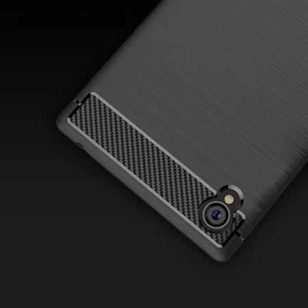 Sony Xperia Z6 TPU Case Carbon Fiber Optik Brushed Schutz Hülle Blau – Bild 5