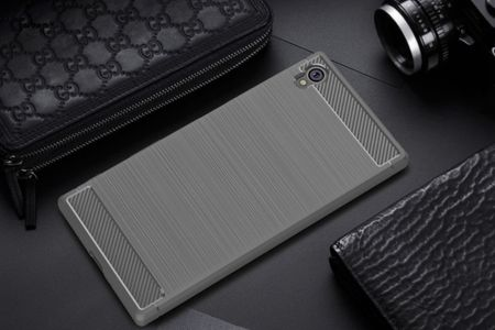 Sony Xperia E6 TPU Case Carbon Fiber Optik Brushed Schutz Hülle Grau – Bild 2