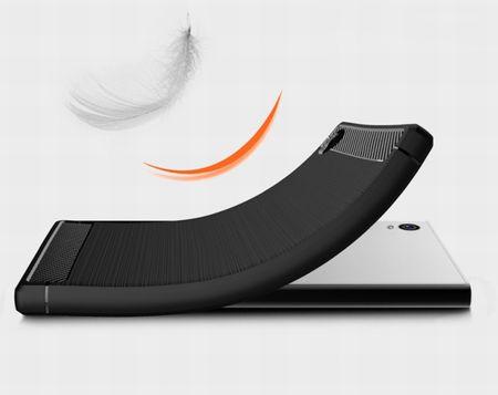 Sony Xperia E6 TPU Case Carbon Fiber Optik Brushed Schutz Hülle Blau – Bild 3