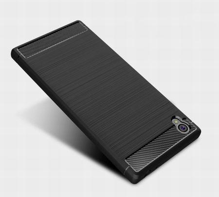 Sony Xperia E6 TPU Case Carbon Fiber Optik Brushed Schutz Hülle Blau – Bild 6