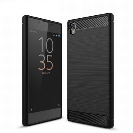 Sony Xperia E6 TPU Case Carbon Fiber Optik Brushed Schutz Hülle Schwarz