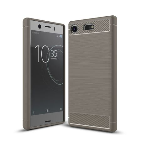 Sony Xperia XZ1 Mini TPU Case Carbon Fiber Optik Brushed Schutz Hülle Grau