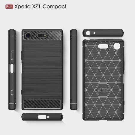 Sony Xperia XZ1 Mini TPU Case Carbon Fiber Optik Brushed Schutz Hülle Grau – Bild 6