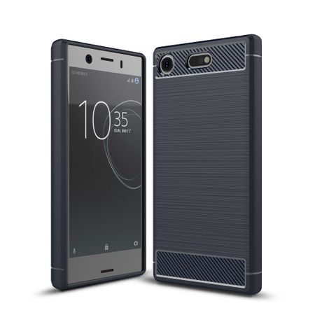 Sony Xperia XZ1 Mini TPU Case Carbon Fiber Optik Brushed Schutz Hülle Blau