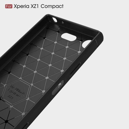 Sony Xperia XZ1 Mini TPU Case Carbon Fiber Optik Brushed Schutz Hülle Blau – Bild 4