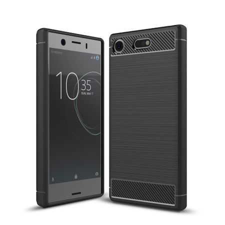 Sony Xperia XZ1 Mini TPU Case Carbon Fiber Optik Brushed Schutz Hülle Schwarz