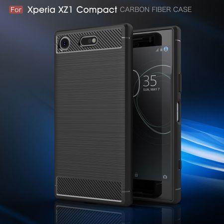 Sony Xperia XZ1 Mini TPU Case Carbon Fiber Optik Brushed Schutz Hülle Schwarz – Bild 4