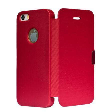 Flip Cover Schutzhülle Case Handyhülle Bookstyle für Apple iPhone 5 / 5s / SE Rot – Bild 2