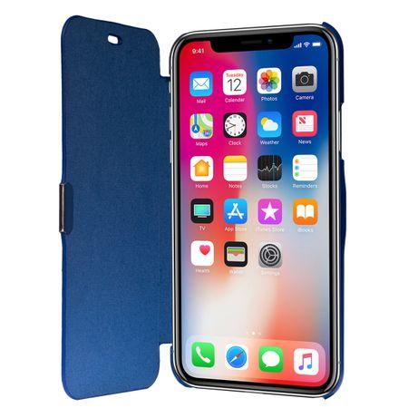 Flip Cover Schutzhülle Case Handyhülle Bookstyle für Apple iPhone X Blau