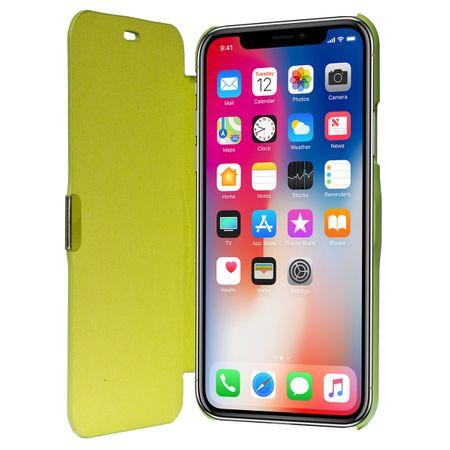 Flip Cover Schutzhülle Case Handyhülle Bookstyle für Apple iPhone X Grün