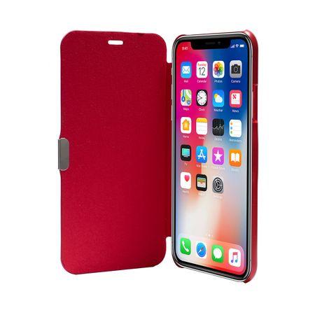 Flip Cover Schutzhülle Case Handyhülle Bookstyle für Apple iPhone X Rot