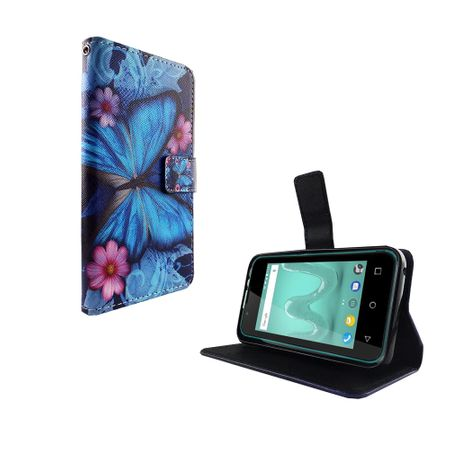 Handyhülle Tasche für Wiko Sunny 2 Blauer Schmetterling – Bild 5