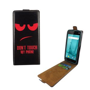 Handyhülle Tasche Flip für Wiko Lenny 4 Dont Touch My Phone Rot