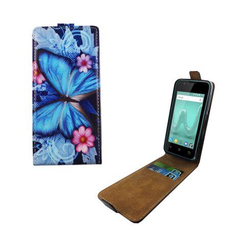 Handyhülle Tasche Flip für Wiko Sunny 2 Blauer Schmetterling – Bild 1