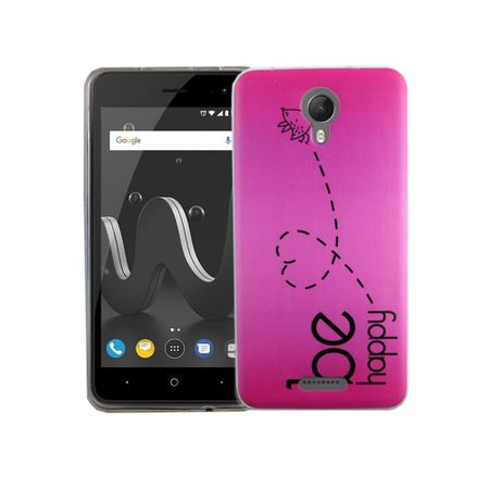 Handy Hülle für Wiko Jerry 2 Be Happy Pink Smartphone Cover Bumper Schale Etuis