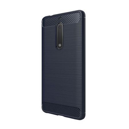 Nokia 5 TPU Case Carbon Fiber Optik Brushed Schutz Hülle Blau – Bild 3