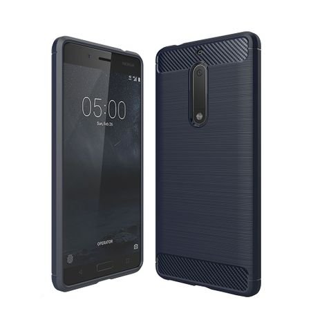 Nokia 5 TPU Case Carbon Fiber Optik Brushed Schutz Hülle Blau – Bild 1