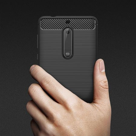 Nokia 5 TPU Case Carbon Fiber Optik Brushed Schutz Hülle Blau – Bild 6