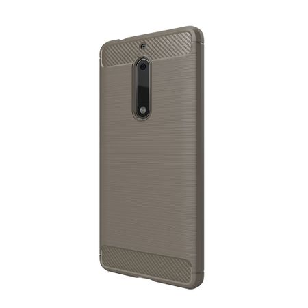 Nokia 5 TPU Case Carbon Fiber Optik Brushed Schutz Hülle Grau – Bild 3
