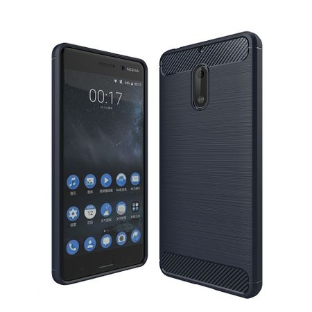 Nokia 6 TPU Case Carbon Fiber Optik Brushed Schutz Hülle Blau